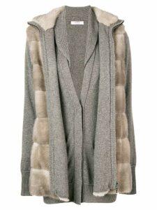 Liska fur layered cardigan - Neutrals