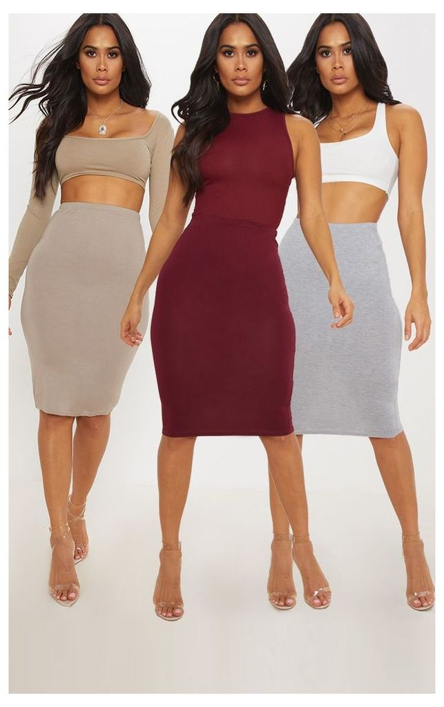 Grey Maroon and Taupe Basic Jersey Midi Skirt 3 Pack, Multi