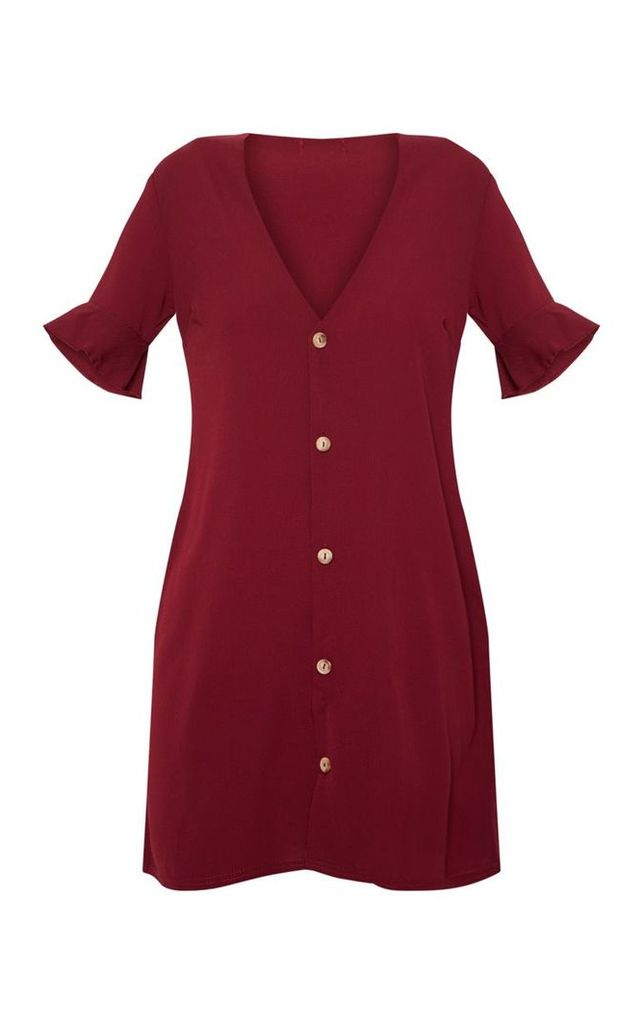Burgundy Oversized Button Front Shirt Dress, Red