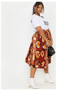 Plus Rust Leopard Print Pleated Midi Skirt, Orange