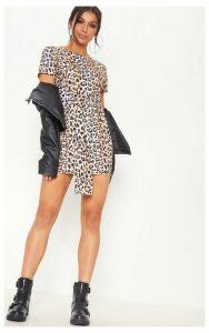 Brown Leopard Print Tie Waist Oversized T Shirt Dress, Brown