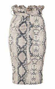 Snake Print Paperbag Midi Skirt, Snake Print