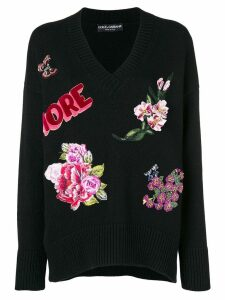 Dolce & Gabbana floral embroidered sweater - Black