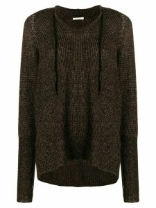 Mes Demoiselles knitted hoodie - Brown