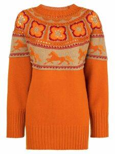 Alberta Ferretti crochet knit jumper - Orange