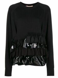 Gina ruffle trim sweater - Black