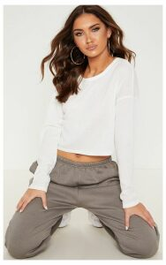 Cream Thick Rib Long Sleeve Crop Top, White