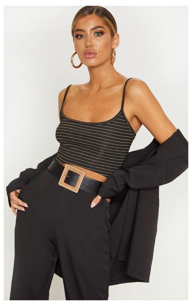 Black Rib Glitter Stripe Strappy Crop Top, Black