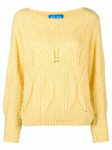 Mih Jeans Lacey leaf knit sweater - Yellow