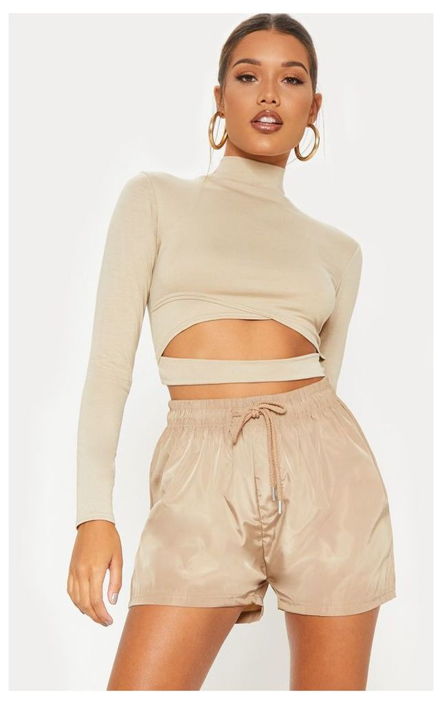 Deep Stone Jersey Open Front Long Sleeve Crop Top, Deep Stone