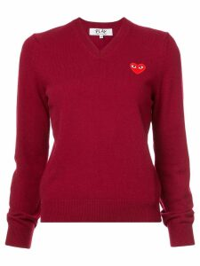 Comme Des Garçons Play v-neck heart embroidered sweater