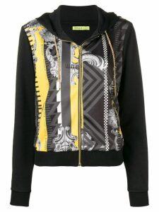 Versace Jeans printed panel hoodie - Black