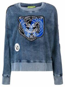 Versace Jeans tiger patch applique washed sweatshirt - Blue