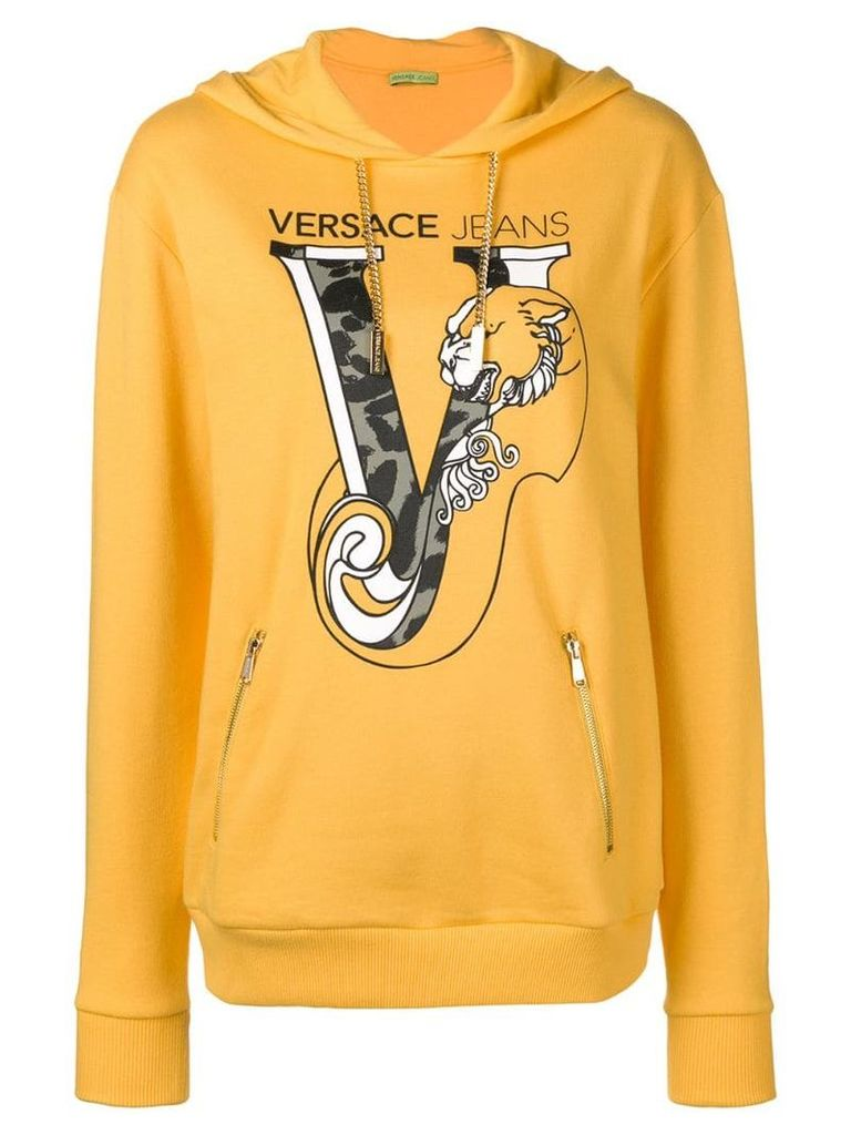 Versace Jeans printed logo pullover hoodie - Yellow