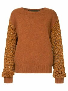 Muller Of Yoshiokubo contrast knitted sweater - Yellow