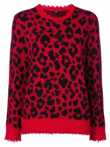 R13 leopard knit sweater - Red