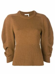 Chloé ribbed detail sweater - Brown