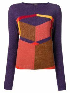 Bottega Veneta geometric intarsia jumper - Purple