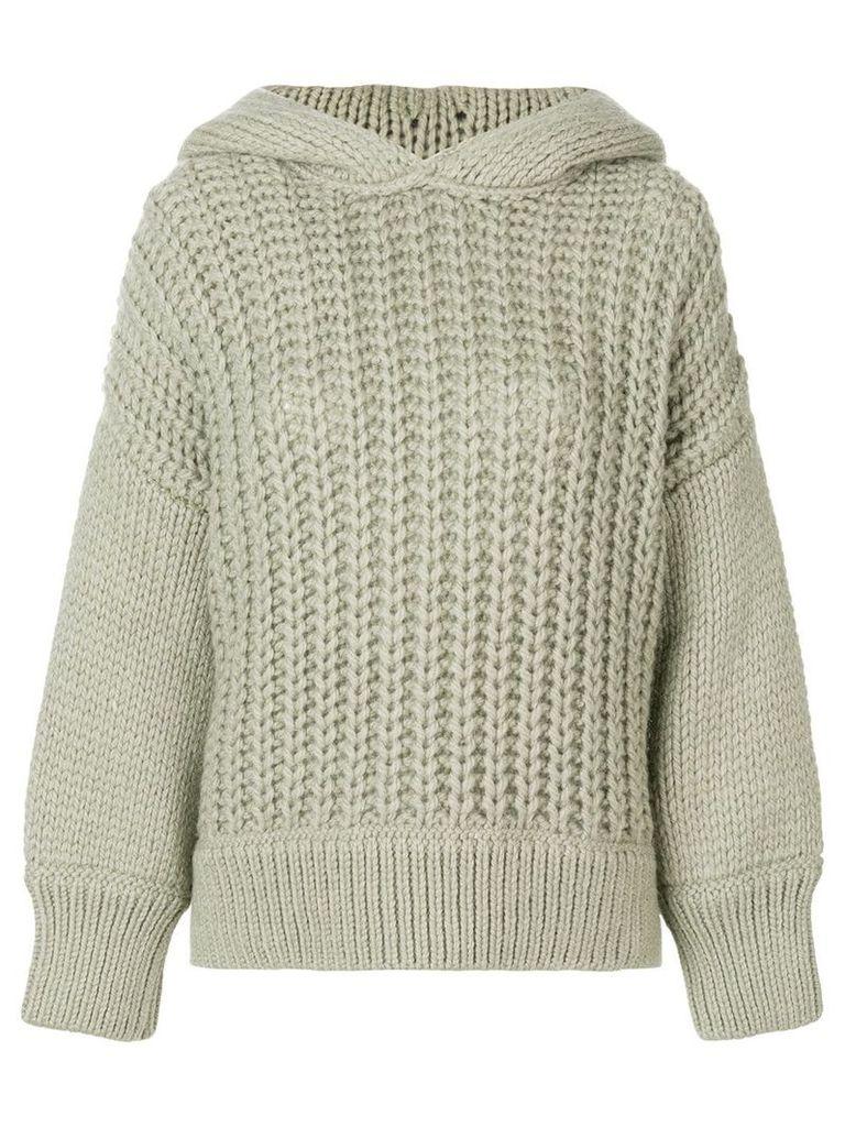 Fendi oversized collar jumper - Grey
