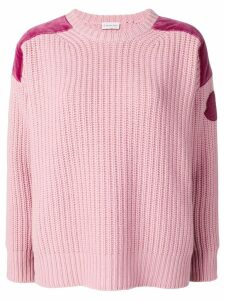 Moncler velvet panel jumper - Pink