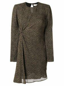 Saint Laurent leopard print ruched dress - Brown