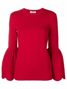 Valentino knitted billowing sleeve sweater - Red