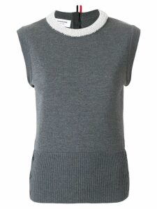 Thom Browne Pearl Applique Wool Shell Top - Grey