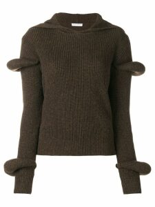 JW Anderson rib-knit hoodie with puff sleeves - Green