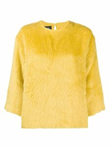 Rochas round neck furry sweatshirt - Yellow