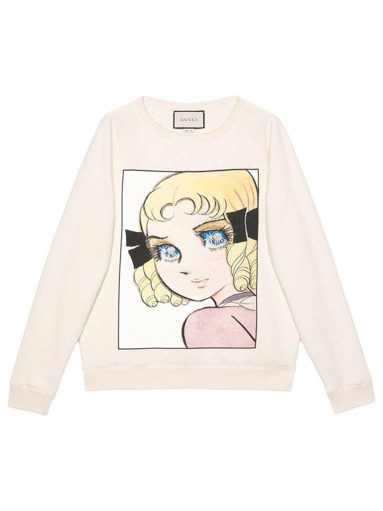 Gucci Cotton sweatshirt with manga print - White