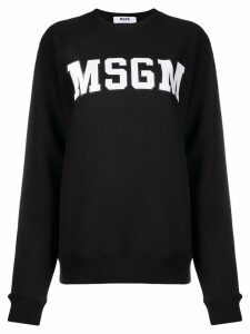 MSGM logo patch sweater - Black
