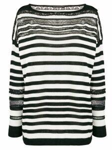 Ermanno Scervino striped sheer detail sweater - Black