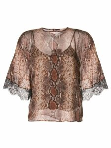 Twin-Set snakeskin print T-shirt - Brown
