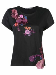 Josie Natori embroidered T-shirt - Black
