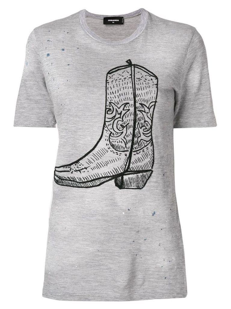 Dsquared2 cowboy boot print T-shirt - Grey