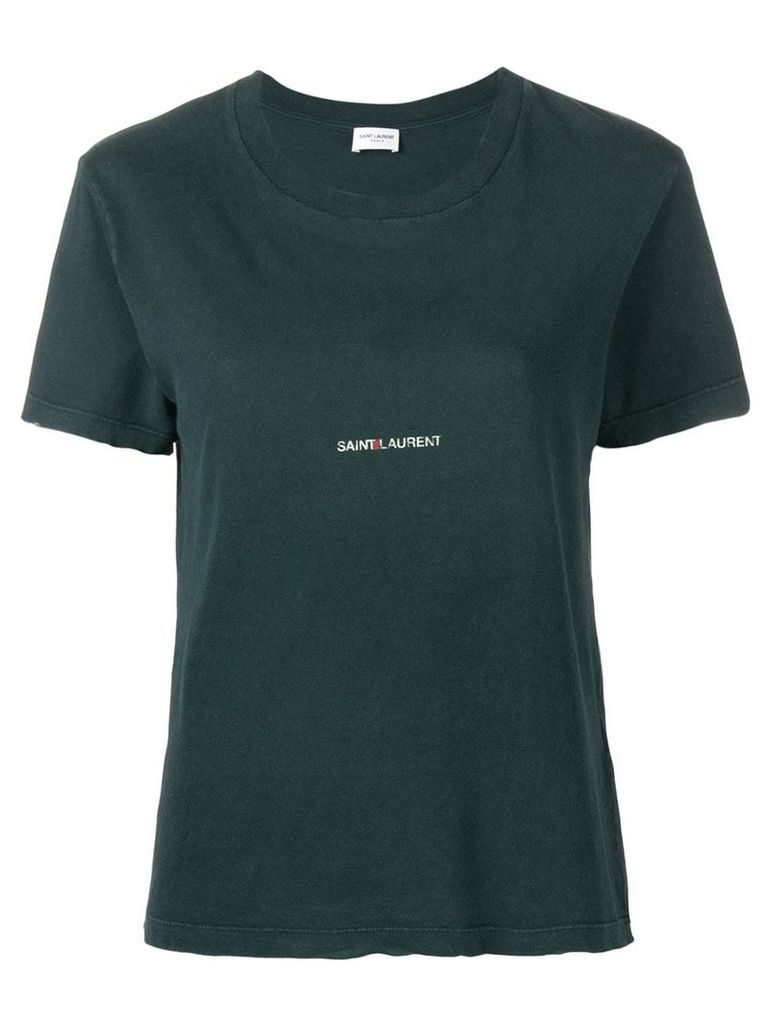Saint Laurent logo patch T-shirt - Green
