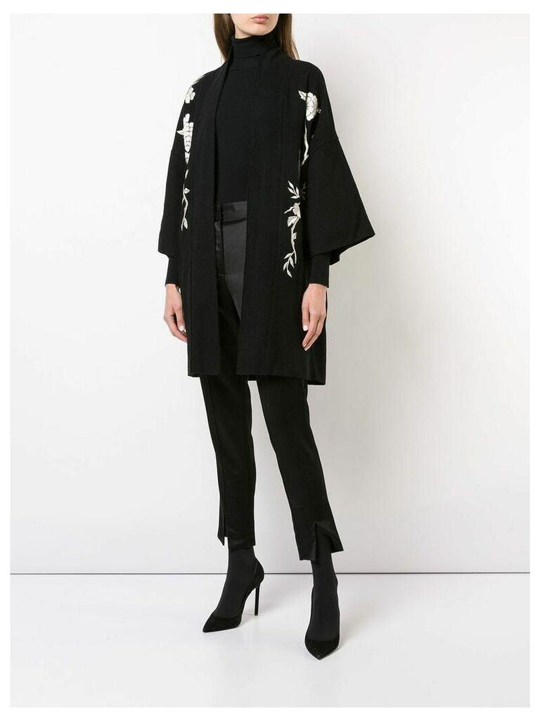 Josie Natori Peacock embroidered felted coat - Black