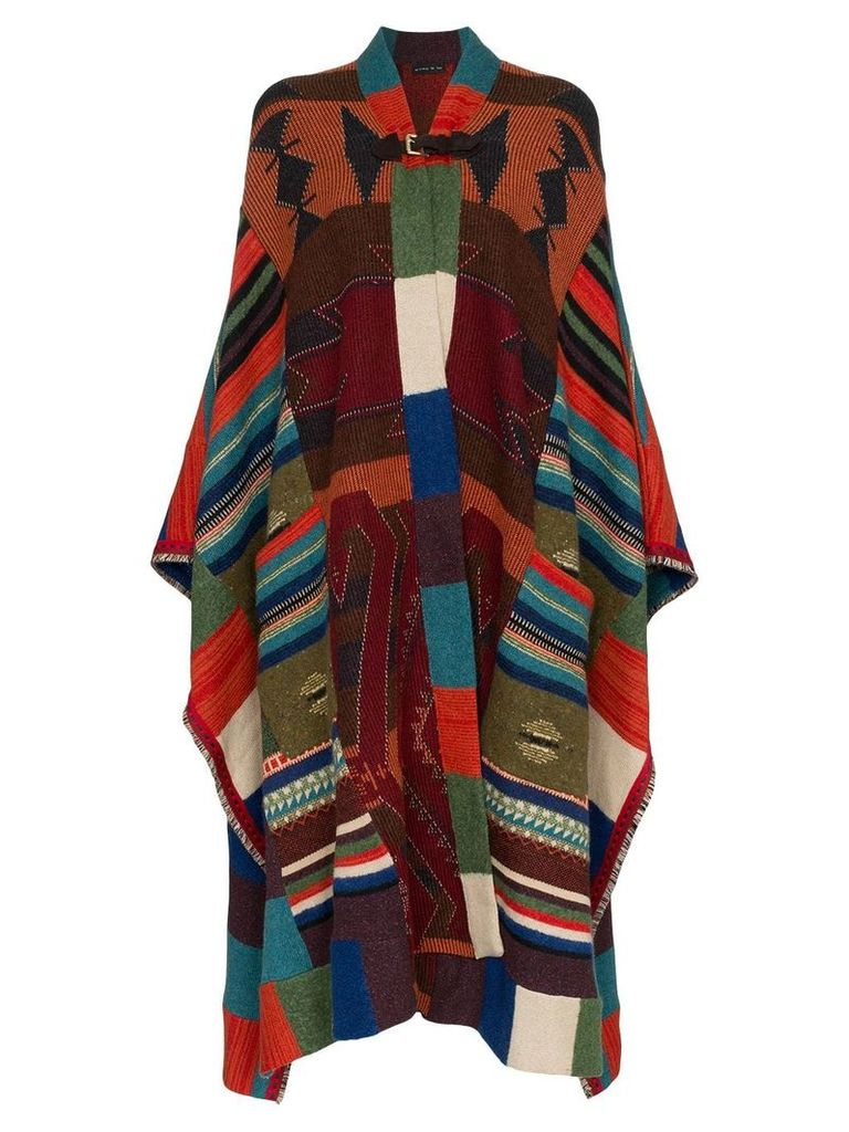 Etro leather buckle knitted wool mohair cashmere-blend cape - 8000