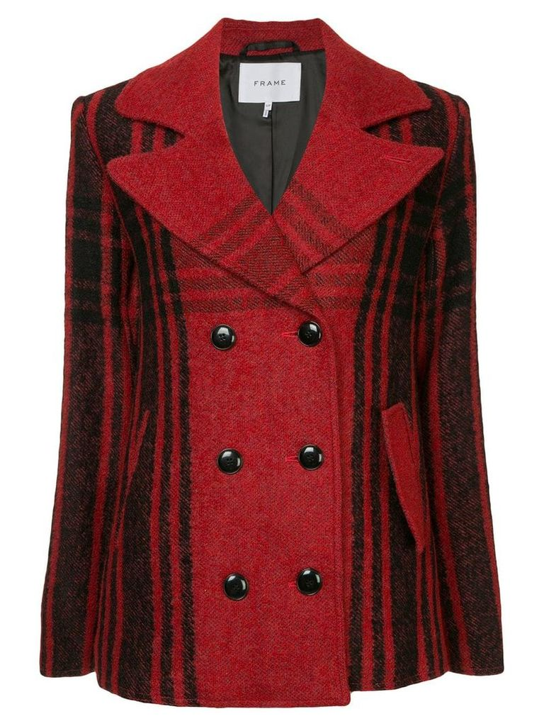 FRAME Buffalo Check peacoat - Red