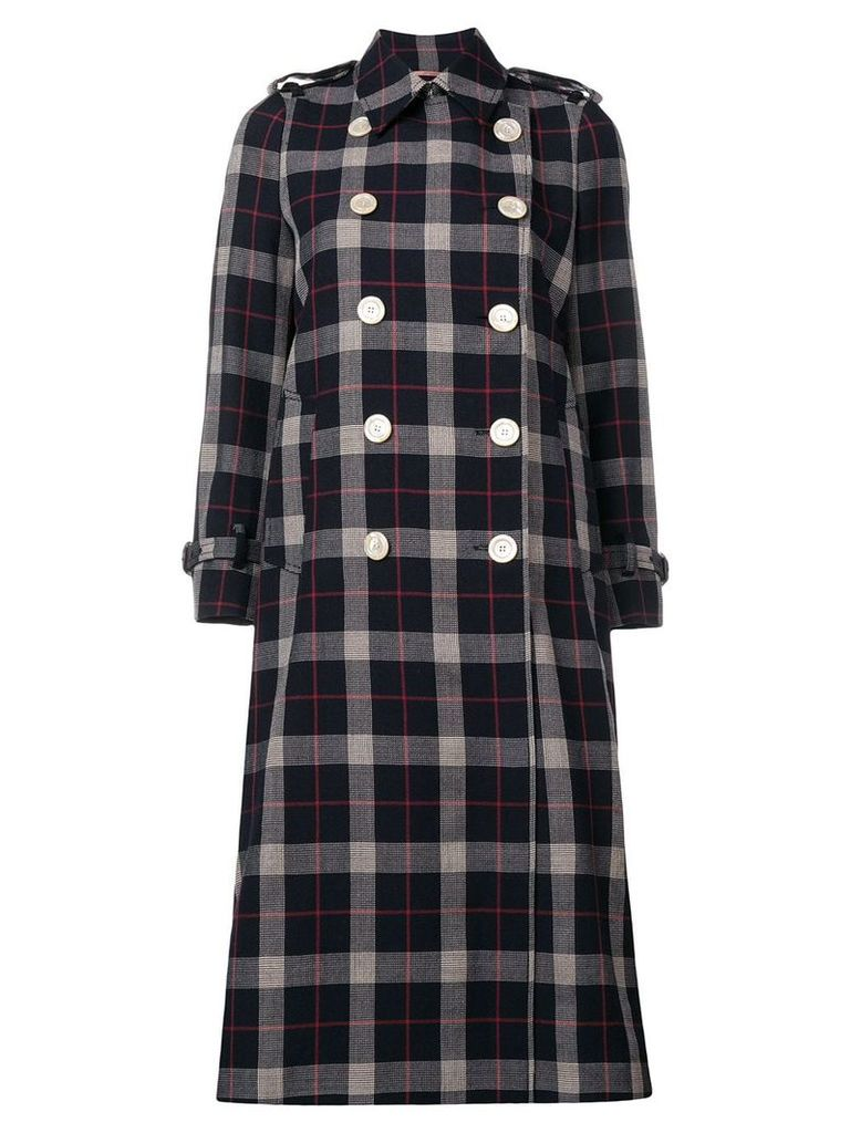 Gucci checked double breasted coat - Blue