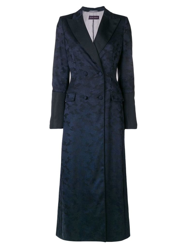 Talbot Runhof camouflage double-breasted coat - Blue