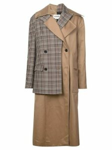 Monse layered double breasted coat - Brown