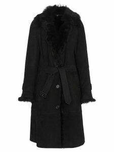 Burberry Shearling Car Coat - Black