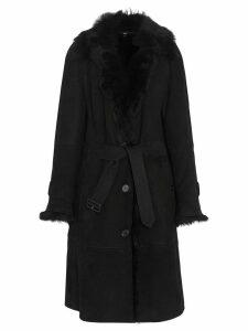 Burberry Shearling Car Coat - Black