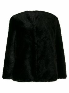 Sara Lanzi faux-fur coat - Black