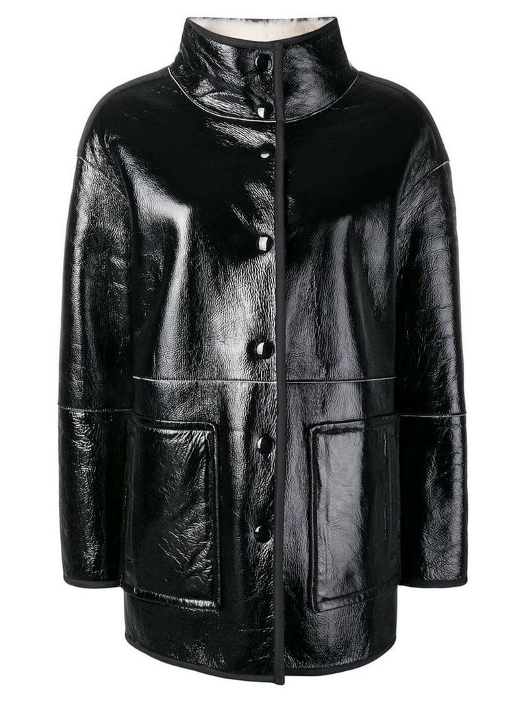 Yves Salomon short shearling coat - Black