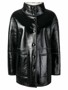 Yves Salomon short shearling coat - Black