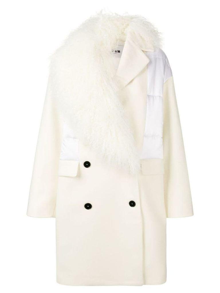 MSGM fur trim coat - White