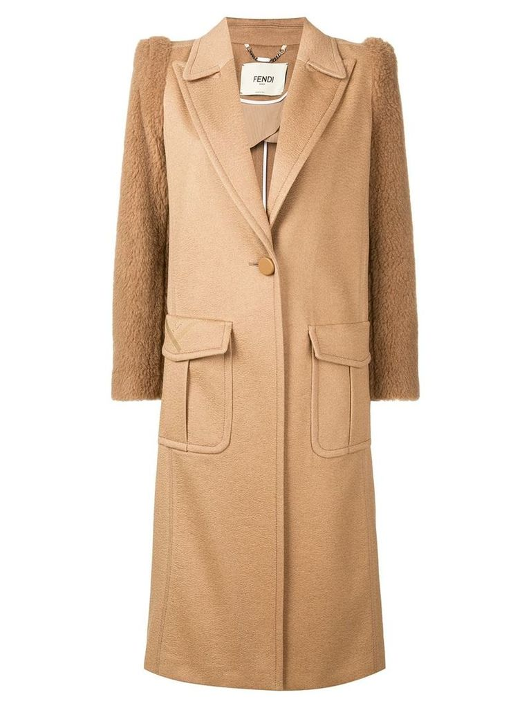 Fendi single breasted coat - Brown