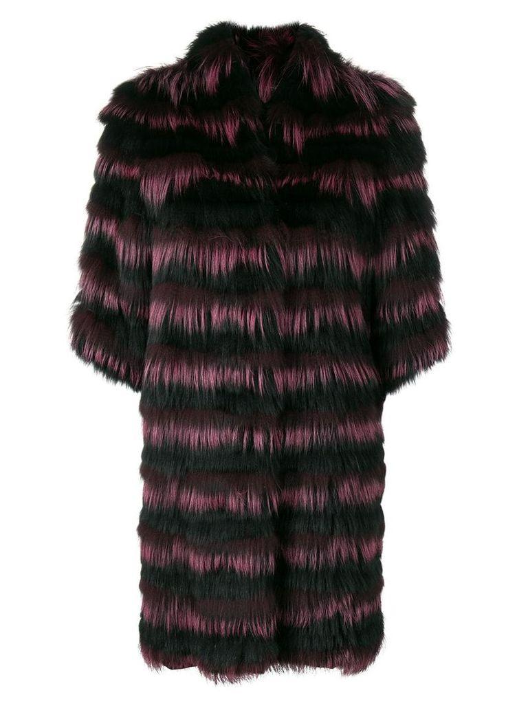 Guy Laroche striped fur coat - Black